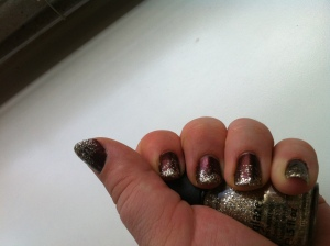 Lannister Manicure - Gold glitter gradient on a deep red base