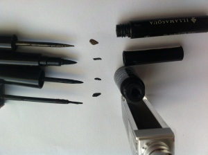 Applicators Bottom to Top; Designer Brands, Revlon Eye Pen, Revlon Liquid Eyeliner, Illamasqua.